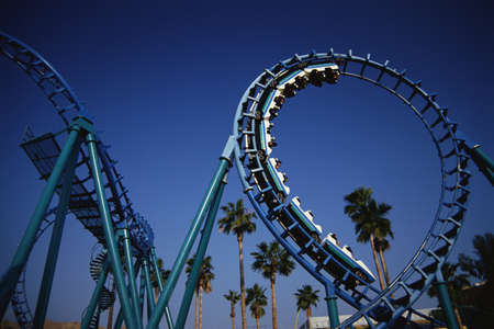 This is the roller coaster at Knotts Berry Farm in Buena Park. This ride is called Montezumas Revenge.