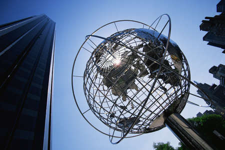 This is the Globe Sculpture at the Trump International Hotel and Tower. It is located on 59th Street and Columbus Circle.