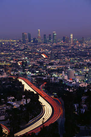 briskness: This shows the Hollywood Freeway and skyline at dusk. It is the view from Mulholland Drive.