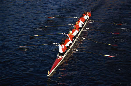 This is the Head of the Charles Regatta. It is the famous autumn rowing event. It shows the teamwork exhibited by the rowers.