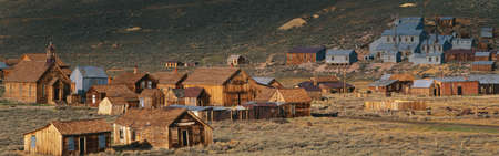 gold rush: This is an old ghost town from around 1859. It was known as the Baddest Town in the West during the gold rush period. Stock Photo