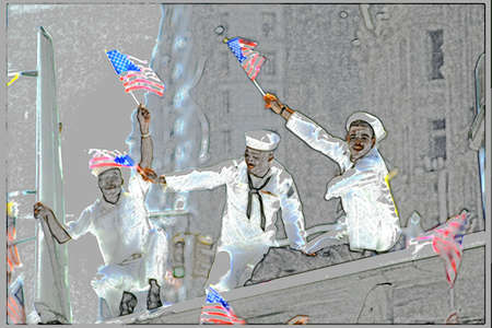 desert storm: Esta es una imagen digital creada de un desfile teletipo en Nueva York, Nueva York. Fue el desfile de la Victoria Desert Storm con tres marineros celebran con ondeando banderas estadounidenses en sus manos. La imagen y el fondo se ghosted de nuevo en gris con la de