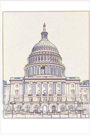 district of columbia: This is the U.S. Capitol in an illustrated form. It is a digitally created image with an off-white background. Stock Photo