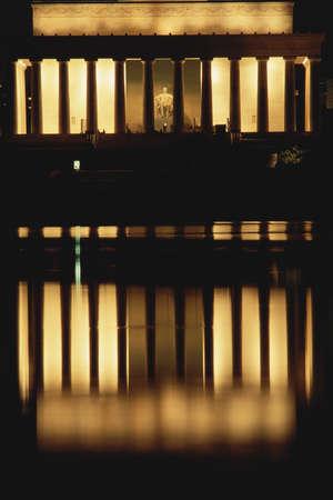 illuminated: Lincoln Memorial illuminated at night Stock Photo