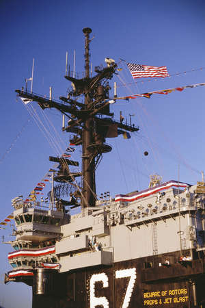 a battleship: Battleship decorated for Independence Day