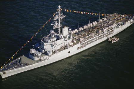 Battleship decorated for celebration