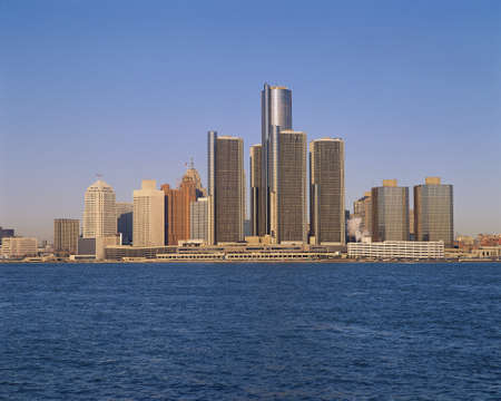 Detroit buildings on the water photo