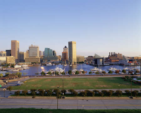 md: Baltimore harbor and skyline, MD