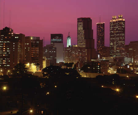 ga: Night falling on Atlanta, GA Stock Photo