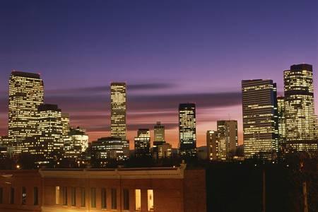 denver co: Anochecer cae en Denver, CO Foto de archivo