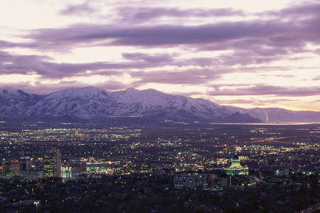salt lake city: Salt Lake City, Utah at twilight Stock Photo