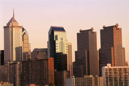 fading: Philadelphia skyline in fading light Stock Photo