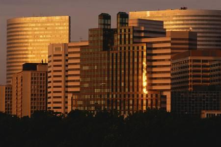 rosslyn: Sunrise on Rosslyn buildings