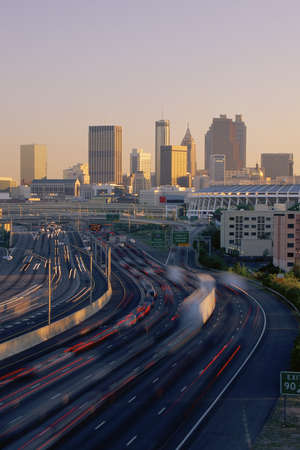 taillight: Rush hour traffic with Atlanta beyond Editorial