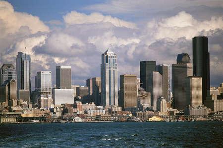 puget sound: Seattle skyline and Puget Sound