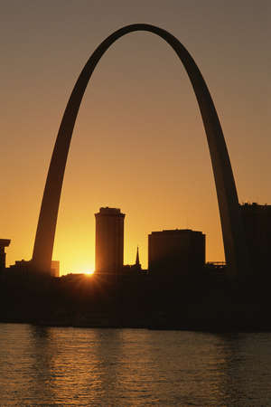 St. Louis arch at sunset photo