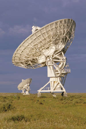 VLA Very Large Array radio telescope dish in field