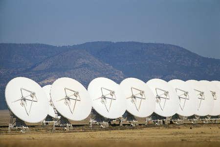Row of VLA Very Large Array radio telescope dishes Stok Fotoğraf
