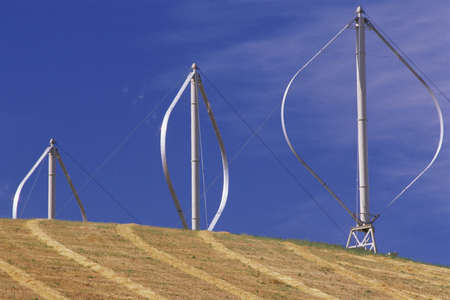 altamont pass: Vertical-axis wind turbines on hill