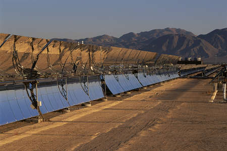barstow: Row of solar panels at solar energy plant