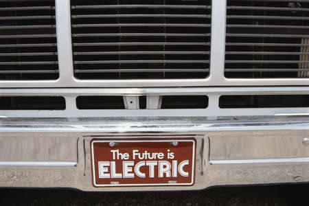 license plate: License plate from electric car