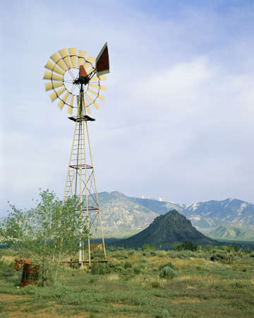 roundtable: Windmill on ranch in Utah Stock Photo