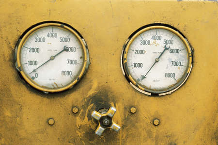 Detail of gauges on heavy machinery
