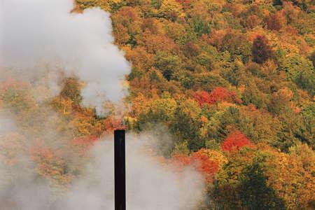Smokestack against autumn trees Reklamní fotografie