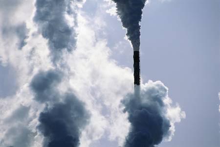 Smoke emerging from smokestack