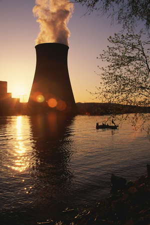 nuclear reactor: Nuclear reactor at sunset