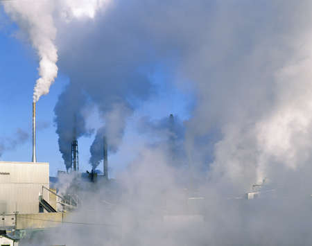 Smoke emerging from paper plant