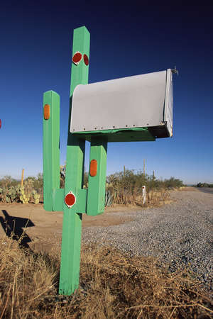 Cactus mailbox Stock Photo