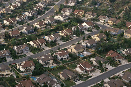 Aerial of suburban neighborhood
