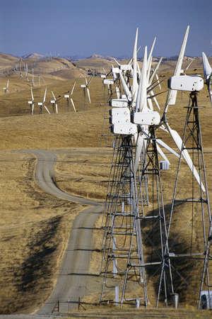 altamont pass: Wind turbines on landscape Stock Photo