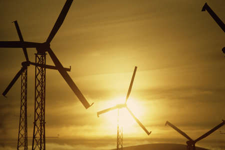 altamont pass: Wind turbines against golden sky