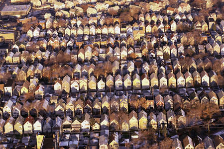 Aerial view of rows of rooftops photo