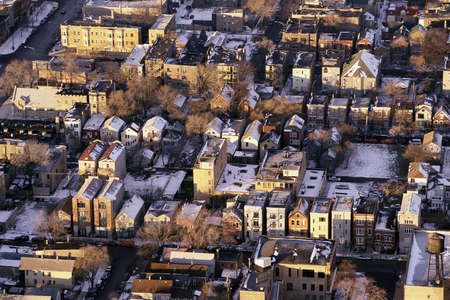 suburbs: Aerial view of wintry Chicago suburbs