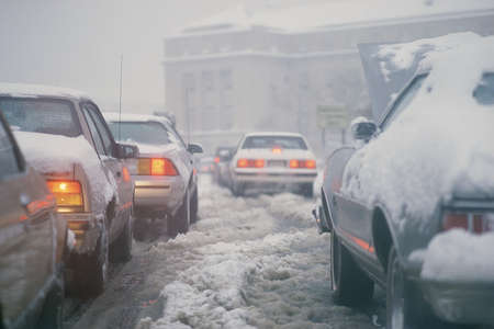 slushy: Winter traffic with car broken down
