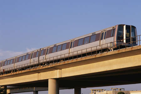Commuter train on elevated track