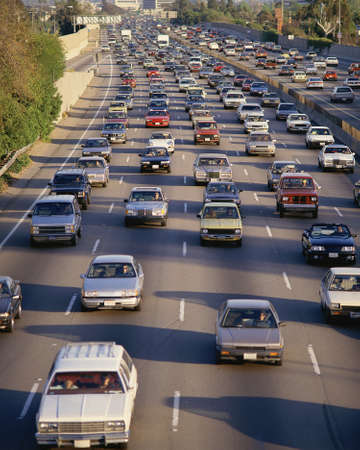 congestion: Heavy traffic on freeway Editorial