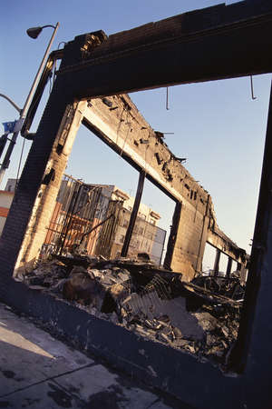 Shell of destroyed building