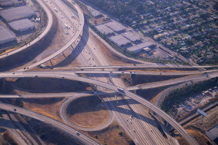 cloverleaf: View of highway interchange Stock Photo