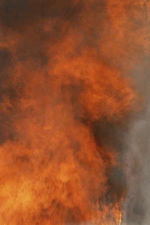 Raging fire and billowing smoke