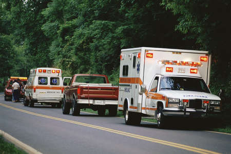 Ambulances parked on side of road
