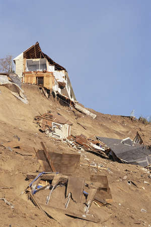 Houses destroyed by a natural disaster photo