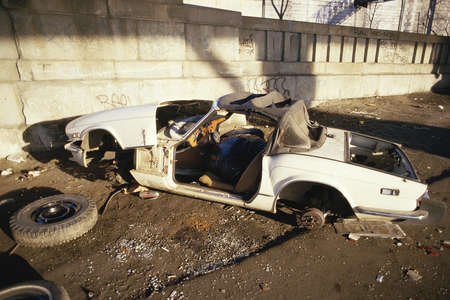 trashed: Abandoned trashed car