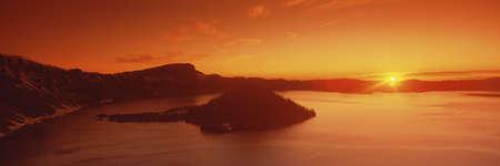 panoramics: Sun rising over Crater Lake National Park, Oregon