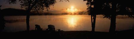panoramics: Sun rising over Lake Placid, New York