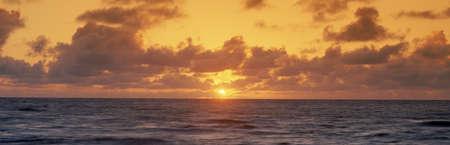panoramics: Sunset over ocean, Hawaii