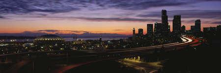 panoramics: Seattle, Washington skyline at sunset